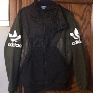 Adidas olive/black windbreaker/sweatshirt